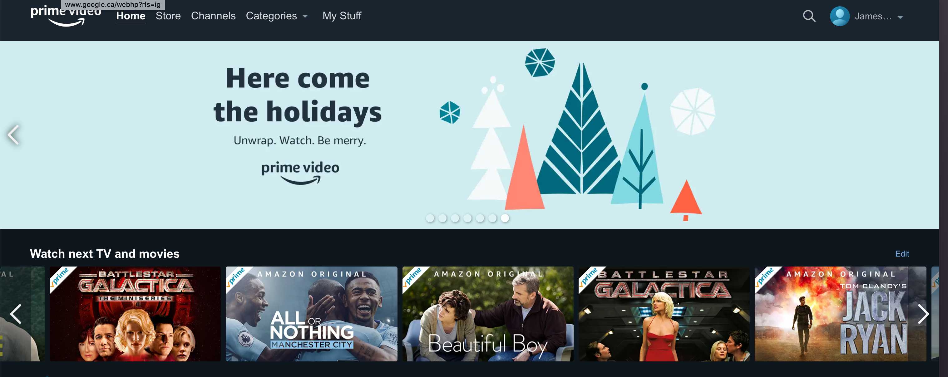 Amazon Prime homescreen