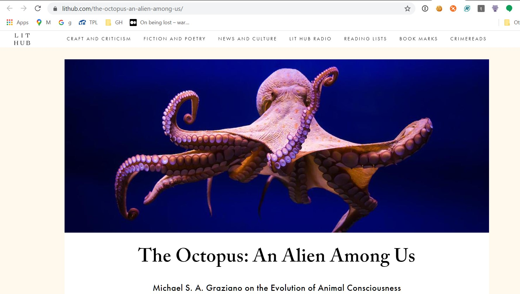 """Screen capture of LitHub.com 'the alien is among us'"